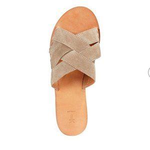 FRYE Women's Carla Crisscoss Suede Slide Sandals Ash Taupe Size 7.5M - Pre-Owned